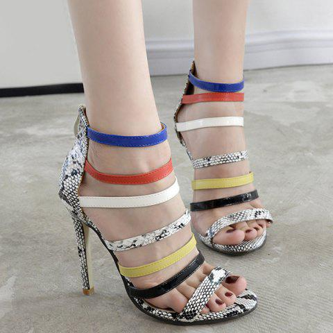 Outfits Color Block Snake Print Sandals