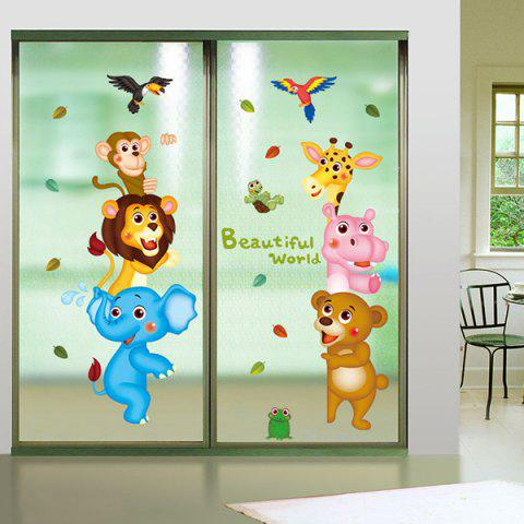 Cartoon Animal World Children Room Wall Sticker - Colormix - 60*90cm