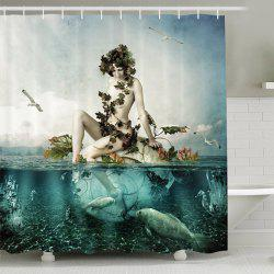 Mermaid Shape Print Waterproof Mouldproof Shower Curtain