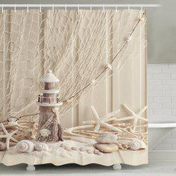 Beach Print Waterproof Mouldproof Shower Curtain - APRICOT