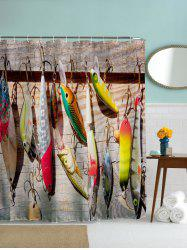 Water Repellent Fish Bait Print Bathroom Curtain