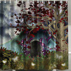 Bath Decor Tree Print Water Repellent Shower Curtain