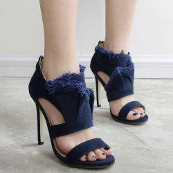 Ruffle Cut Out Stiletto Heel Sandals