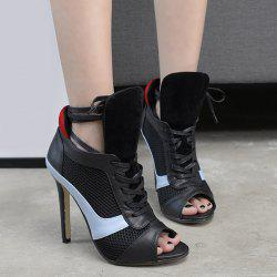 Grid Mesh Panel Lace Up Stiletto Heel Bootie Sandals