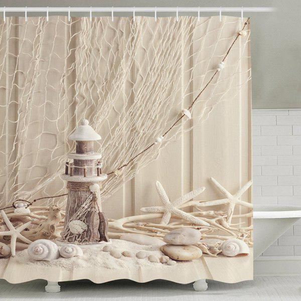 Beach Print Waterproof Mouldproof Shower CurtainHOME<br><br>Size: 180CM*180CM; Color: APRICOT; Type: Shower Curtains; Material: Polyester; Size(L*W)(CM): 180*180; Weight: 0.540kg; Package Contents: 1 x Shower Curtain +1 x Hooks Set?12Pcs?;