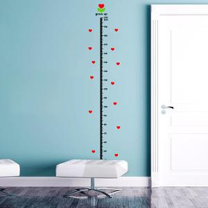 Hearts Pattern Kids Height Wall Stickers - Red With Black - One Size