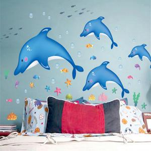 Cartoon Sea World Dolphin Decorative Wall Stickers For Kids Rooms - Medium Blue - M