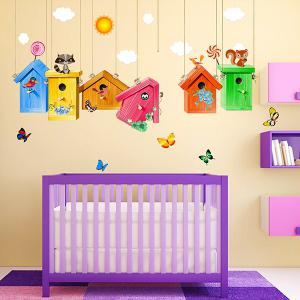 Cartoon Birdcage Wall Stickers For Kids Room Kindergarten Decor