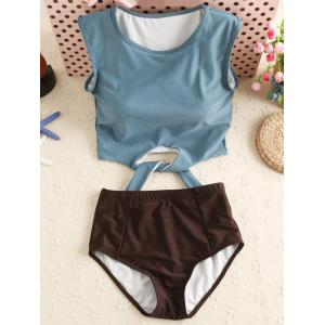 High Neck Underwire Tankini with Padded Cups - Grey Blue - Xl