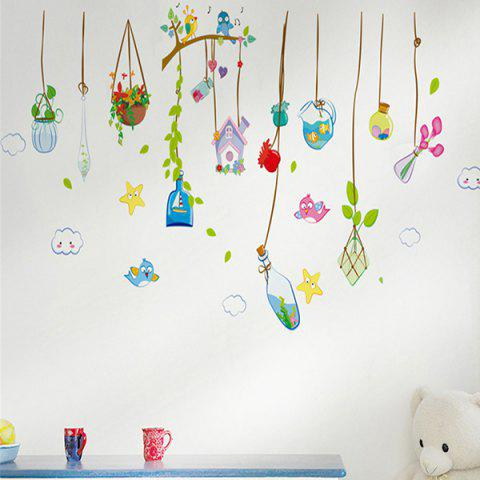 Cartoon Flower Rattan Home Cabinet Personalised Vinyl Window Decor Wall Stickers - Colormix - 57*14cm