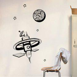 Cartoon Universe Satellite Removable Wall Stickers For Kids Bedrooms