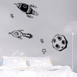 Cartoon Rocket Pattern Kids Room Decor Wall Stickers