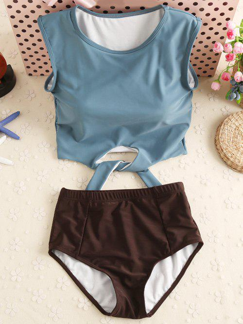 High Neck Underwire Tankini with Padded CupsWOMEN<br><br>Size: S; Color: GREY BLUE; Swimwear Type: Tankini; Gender: For Women; Material: Polyester; Bra Style: Padded; Support Type: Wire Free; Neckline: Round Collar; Pattern Type: Solid; Waist: High Waisted; Elasticity: Elastic; Weight: 0.2800kg; Package Contents: 1 x Tank Top  1 x Panty;