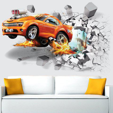Shop 3D Wall Broken Removable Afire Car Living Room Wall Stickers - 50*70CM YOLK YELLOW Mobile