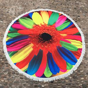 Tassel Embellished Colorful Sunflower Round Beach Blanket - Colorful - One Size