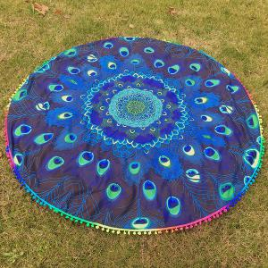 Peacock Feather Colorful Pompon Round Beach Throw