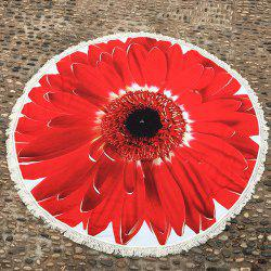Tassel Embellished Sunflower Round Beach Blanket