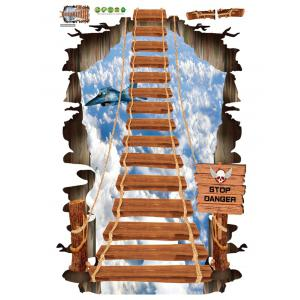 3D Sky Rope Pont sol Décor Stickers muraux -