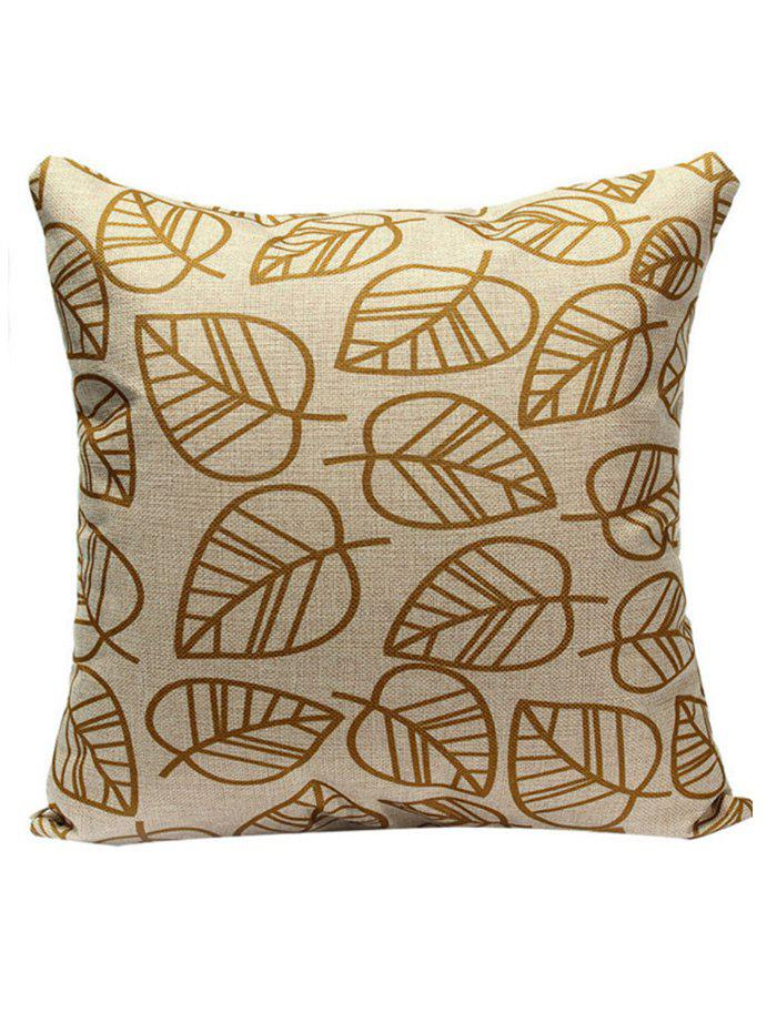 Leaves Sofa Cushion Pillow CaseHOME<br><br>Size: 45*45CM; Color: LIGHT KHAKI; Material: Polyester / Cotton; Pattern: Other; Style: Casual; Shape: Square; Size(CM): 45*45CM; Weight: 0.1000kg; Package Contents: 1 x Pillow Case;