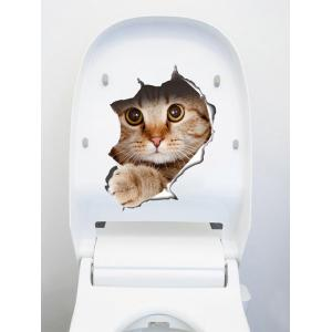 Creative Cat Art Removable 3D Toilet Cover Stickers - Brown - 40*60cm