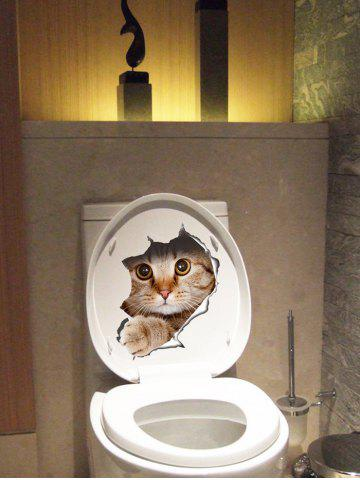 Sale Creative Cat Art Removable 3D Toilet Cover Stickers - BROWN  Mobile