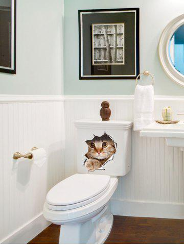 Chic Creative Cat Art Removable 3D Toilet Cover Stickers - BROWN  Mobile