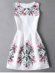Sleeveless Jacquard Mini Dress With Butterfly Pattern