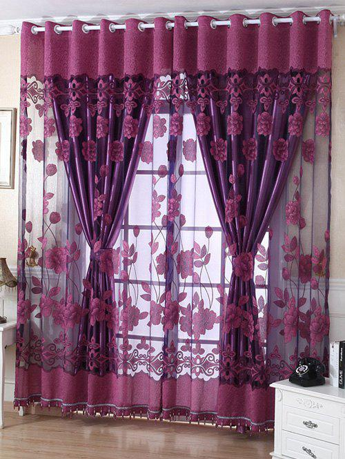 1Pcs Grommet Roller Floral Window TulleHOME<br><br>Size: 100*250CM; Color: VIOLET; Applicable Window Type: French Window; Function: Translucidus (Shading Rate 1%-40%); Installation Type: Exterior Installation; Location: Living Room,Window; Material: Voile Curtain; Opening and Closing Method: Left and Right Biparting Open; Pattern Type: Floral; Processing Accessories Cost: Excluded; Style: Europe; Technics: Woven; Type: Tulle; Use: Cafe,Home,Hotel,Office; Weight: 0.3240kg; Package Contents: 1 x Window Tulle (Without Blackout Curtain );