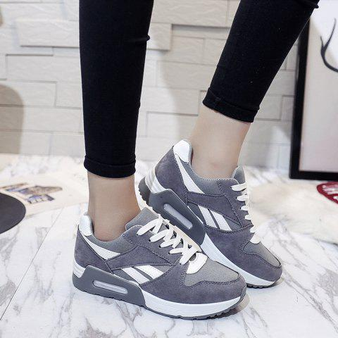 Best Color Block Breathable Suede Sneakers GRAY 38