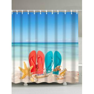 Beach Couple Shoes Fabric Waterproof Shower Curtain