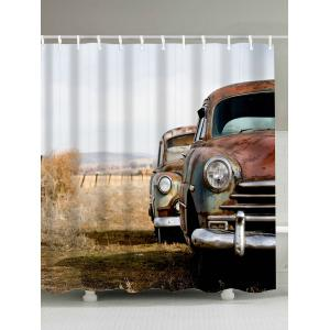 Waterproof Mouldproof Old Car Print Shower Curtain