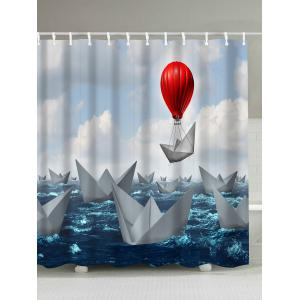 Paper Boat Print Waterproof Fabric Shower Curtain - Colormix - 180*200cm