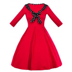 Vintage Polka Dot Bowknot High Waisted Dress
