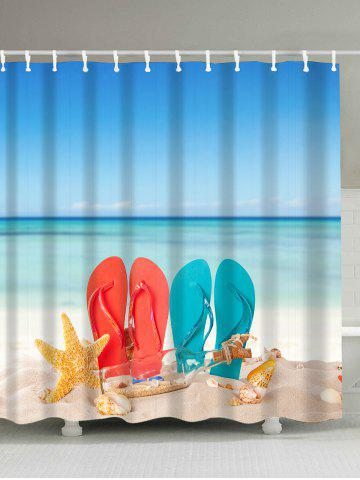 Chic Beach Couple Shoes Fabric Waterproof Shower Curtain - 180*200CM COLORMIX Mobile