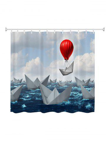 Best Paper Boat Print Waterproof Fabric Shower Curtain - 180*200CM COLORMIX Mobile