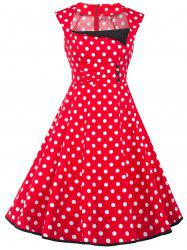 Vintage Polka Dot Square Neck Fit and Flare Dress