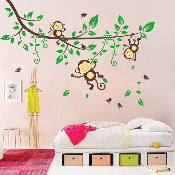 Cartoon Forest Monkey Children Room Wall Art StickerHOME<br><br>Color: COLORMIX; Wall Sticker Type: Plane Wall Stickers; Functions: Decorative Wall Stickers; Theme: Cartoon; Material: PVC; Feature: Removable; Size(L*W)(CM): 90*60CM; Length: 90CM; Width: 60CM; Weight: 0.3951kg; Package Contents: 1 x Wall Stickers;