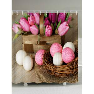 Easter Egg Print Shower Curtain with 12Pcs Hooks - Colormix - 150*180cm