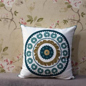 Round Mandala Embroidered Cotton Fabric Square Pillowcase