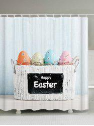 Happy Easter Decor Waterproof Shower Curtain - LIGHT BLUE