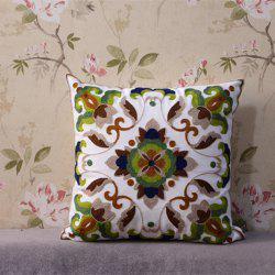Vintage Flower Embroidered Cotton Fabric Square Pillowcase