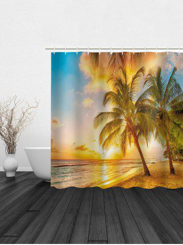 Trendy Digital Sunset Beach Print Waterproof Shower Curtain - 180*180CM COLORMIX Mobile