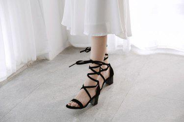 Middle Heel Lace Up Sandals