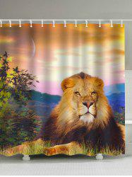 Sunset Lion Print Polyester Waterproof Shower Curtain