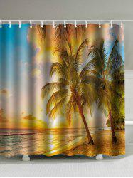 Digital Sunset Beach Print Waterproof Shower Curtain