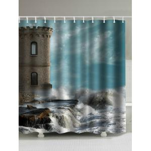Seaside Old Castle Print Polyester Waterproof Shower Curtain - Colormix - 150*180cm