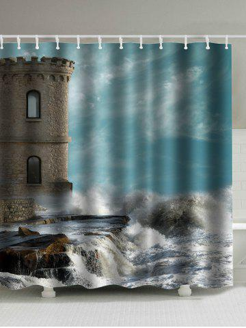 Buy Seaside Old Castle Print Polyester Waterproof Shower Curtain - 180*180CM COLORMIX Mobile