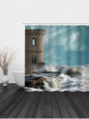 Sale Seaside Old Castle Print Polyester Waterproof Shower Curtain - 180*180CM COLORMIX Mobile