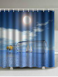 Drift Bottle Print Shower Curtain with Hooks
