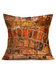 Natural Brick Wall Cotton Cloth Square Pillowcase - BRICK-RED